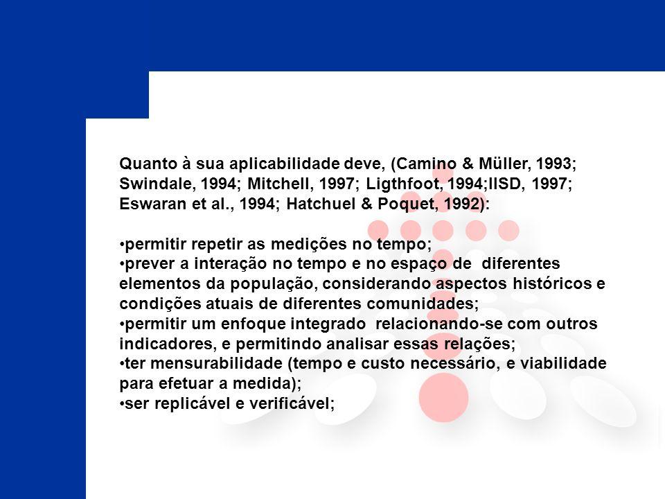 Quanto à sua aplicabilidade deve, (Camino & Müller, 1993; Swindale, 1994; Mitchell, 1997; Ligthfoot, 1994;IISD, 1997; Eswaran et al., 1994; Hatchuel & Poquet, 1992):