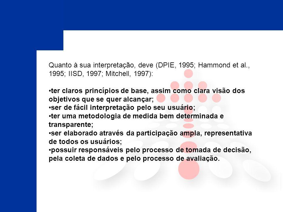 Quanto à sua interpretação, deve (DPIE, 1995; Hammond et al