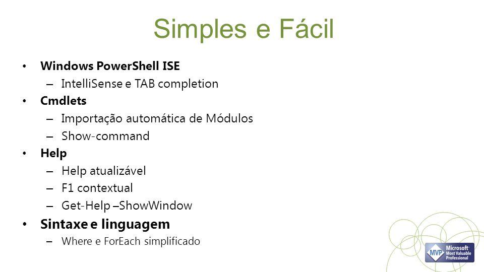 Simples e Fácil Sintaxe e linguagem Windows PowerShell ISE