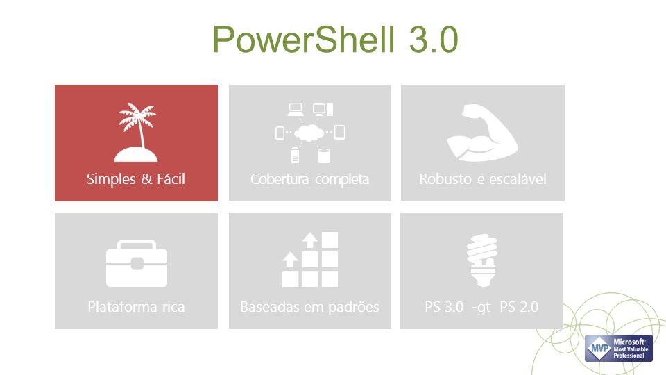 PowerShell 3.0 Simples & Fácil Cobertura completa Robusto e escalável