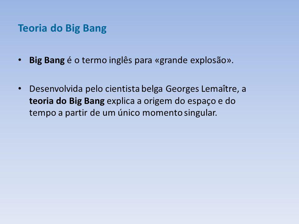 Teoria do Big Bang Big Bang é o termo inglês para «grande explosão».