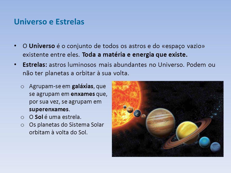Universo e Estrelas O Universo é o conjunto de todos os astros e do «espaço vazio» existente entre eles. Toda a matéria e energia que existe.