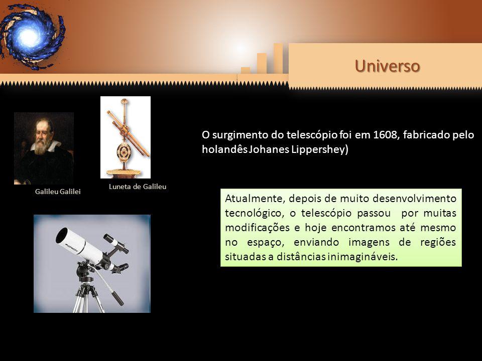 Universo Luneta de Galileu. Galileu Galilei. O surgimento do telescópio foi em 1608, fabricado pelo holandês Johanes Lippershey)