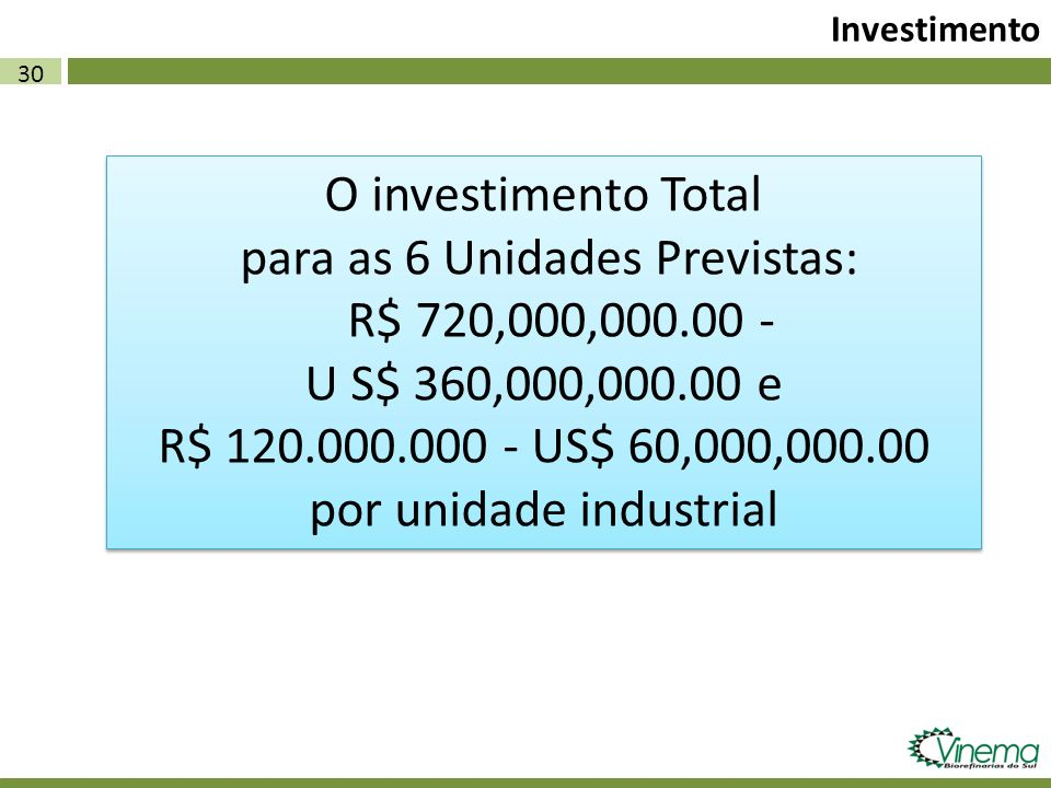 para as 6 Unidades Previstas: R$ 720,000,000.00 -