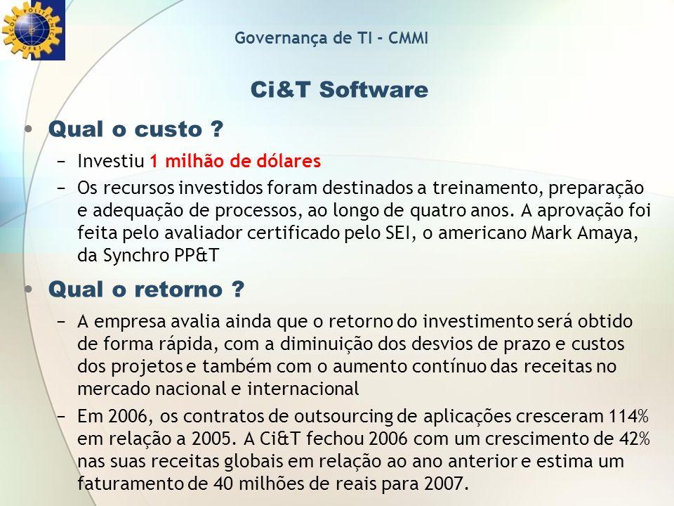 Ci&T Software Qual o custo Qual o retorno