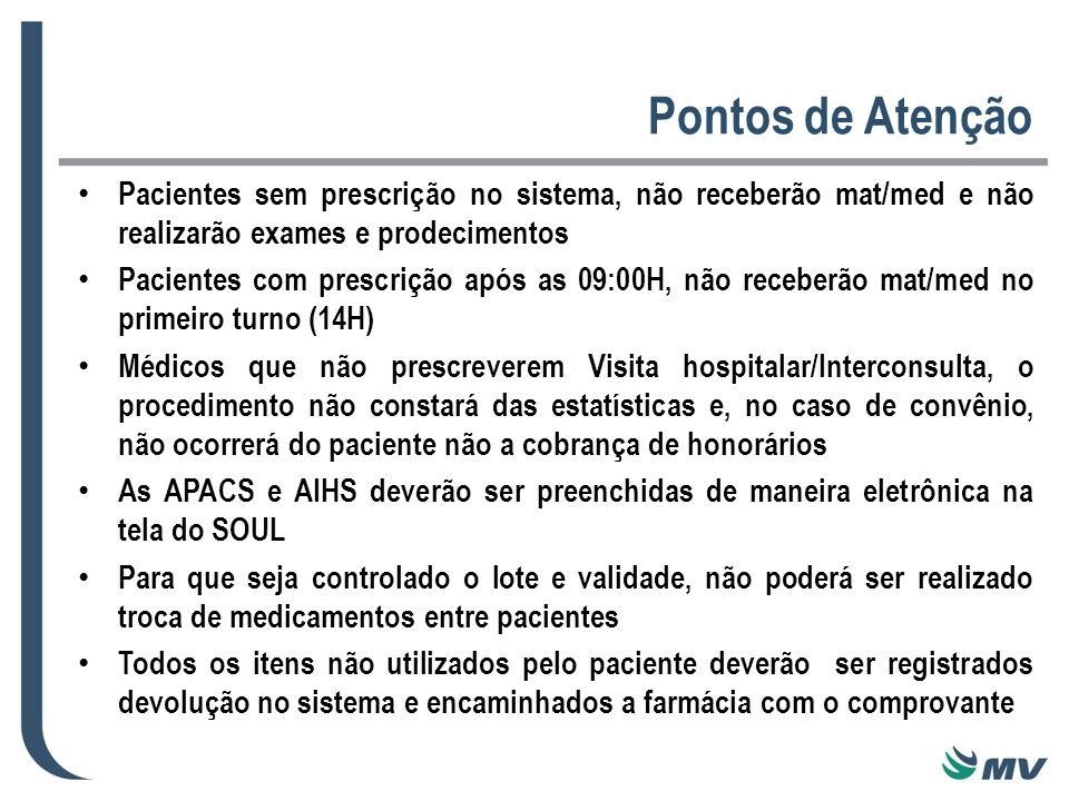 Pontos de Atenção Pacientes sem prescrição no sistema, não receberão mat/med e não realizarão exames e prodecimentos.