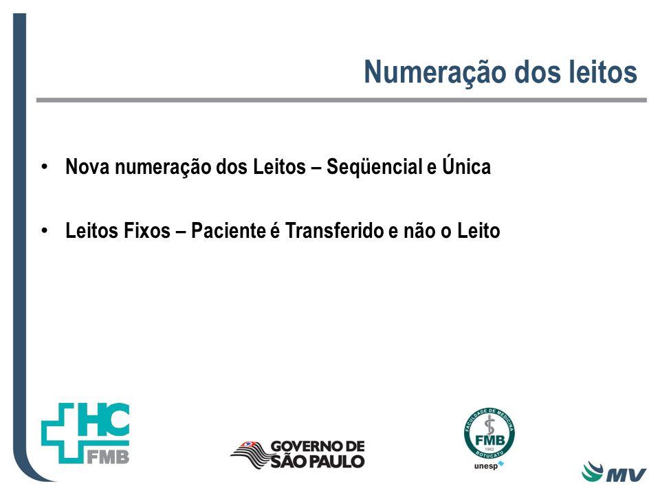 Numeração dos leitos Nova numeração dos Leitos – Seqüencial e Única