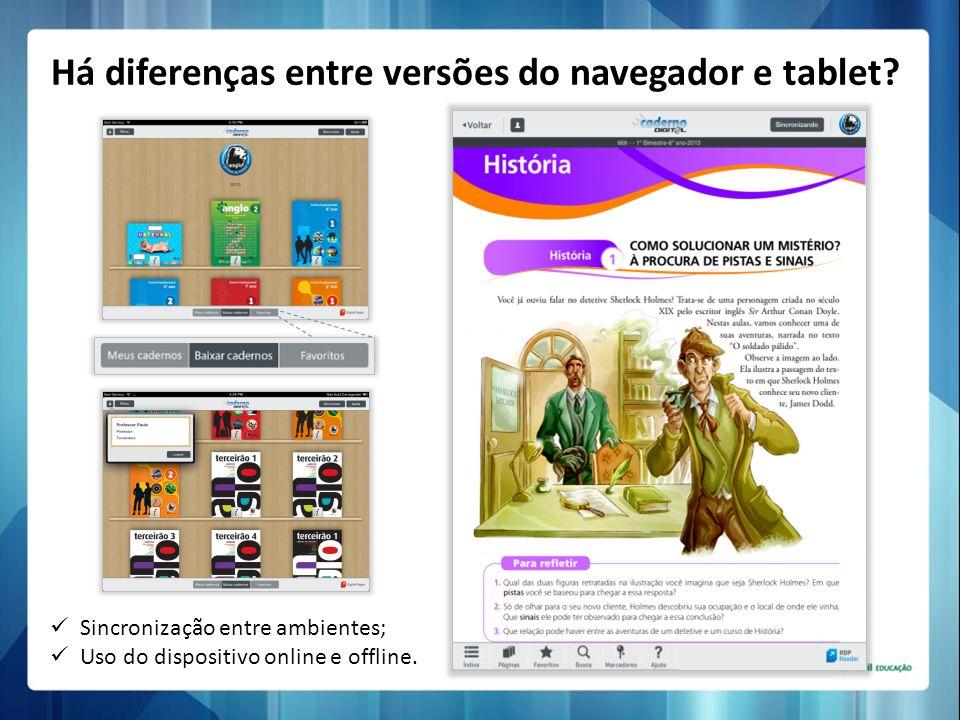 Há diferenças entre versões do navegador e tablet