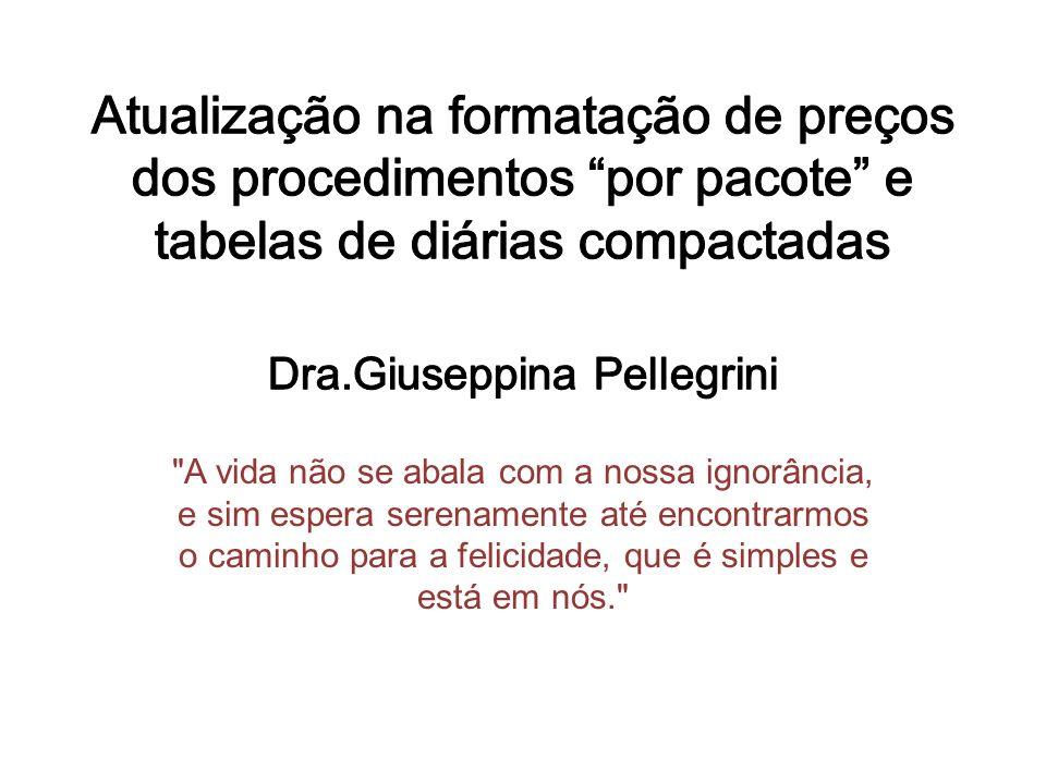 Atualização na formatação de preços dos procedimentos por pacote e tabelas de diárias compactadas Dra.Giuseppina Pellegrini