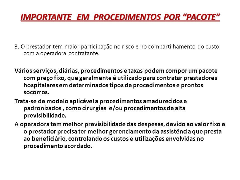 IMPORTANTE EM PROCEDIMENTOS POR PACOTE