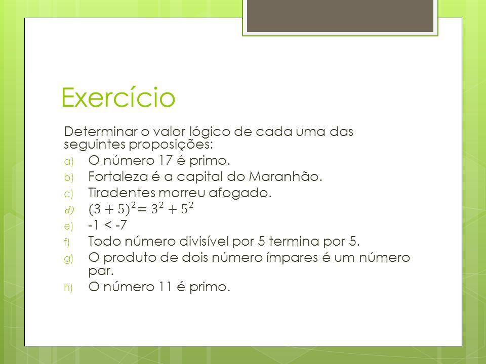 Exercício Determinar o valor lógico de cada uma das seguintes proposições: O número 17 é primo. Fortaleza é a capital do Maranhão.