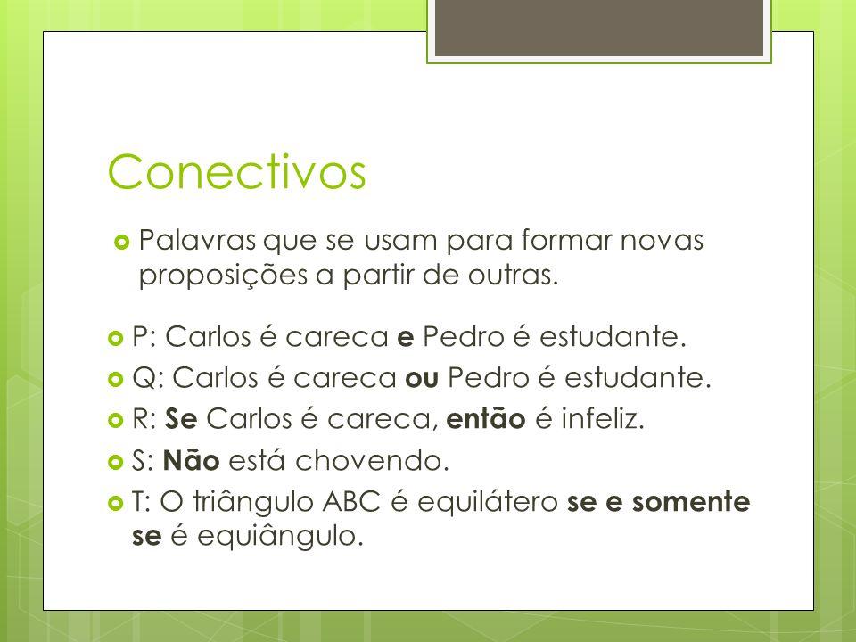 Conectivos Palavras que se usam para formar novas proposições a partir de outras. P: Carlos é careca e Pedro é estudante.