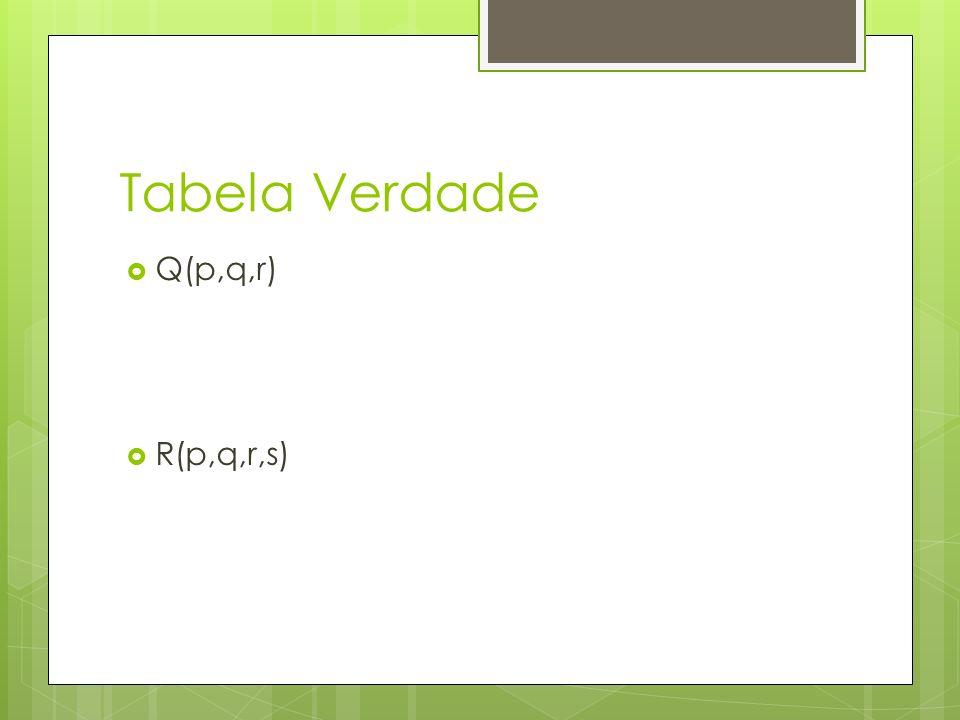 Tabela Verdade Q(p,q,r) R(p,q,r,s)
