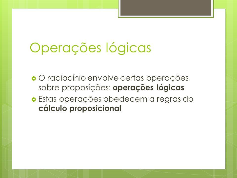 Operações lógicas O raciocínio envolve certas operações sobre proposições: operações lógicas.