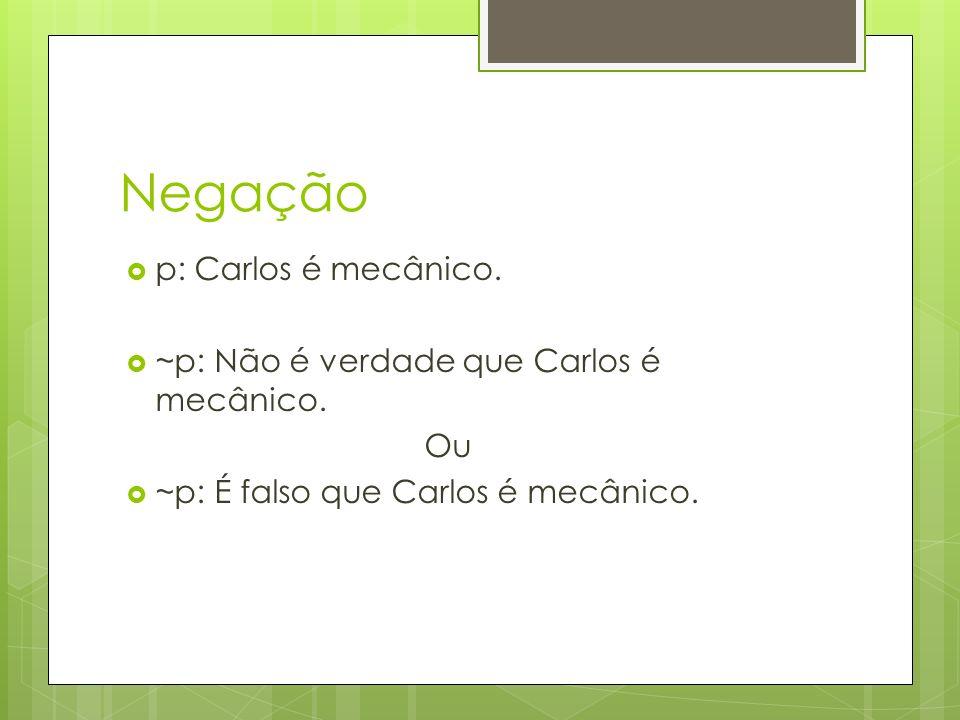 Negação p: Carlos é mecânico. ~p: Não é verdade que Carlos é mecânico.