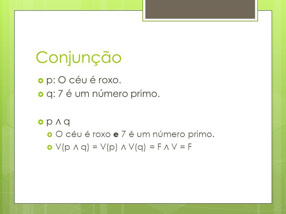 Conjunção p: O céu é roxo. q: 7 é um número primo. p ∧ q