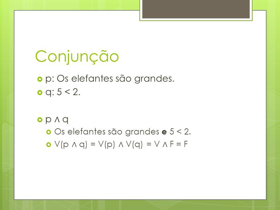 Conjunção p: Os elefantes são grandes. q: 5 < 2. p ∧ q