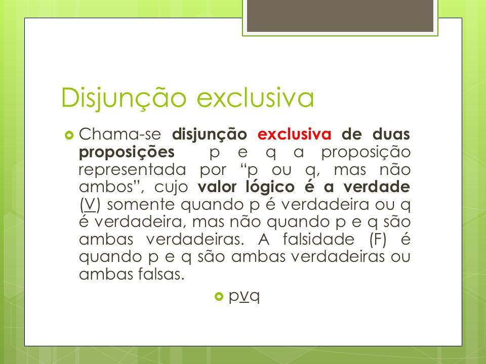 Disjunção exclusiva