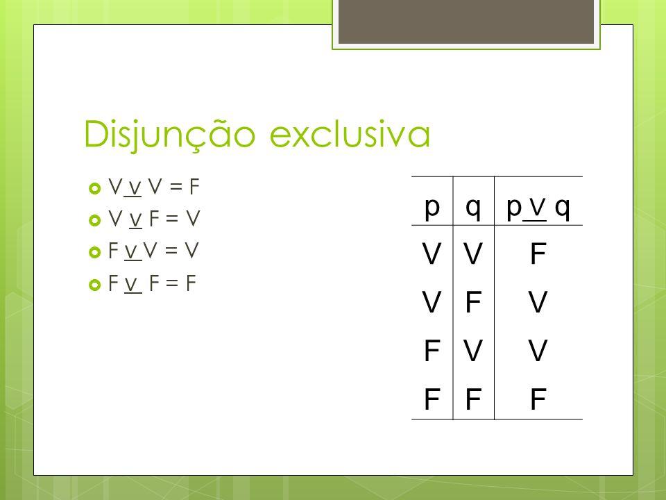 Disjunção exclusiva p q p ∨ q V F V ∨ V = F V ∨ F = V F ∨ V = V