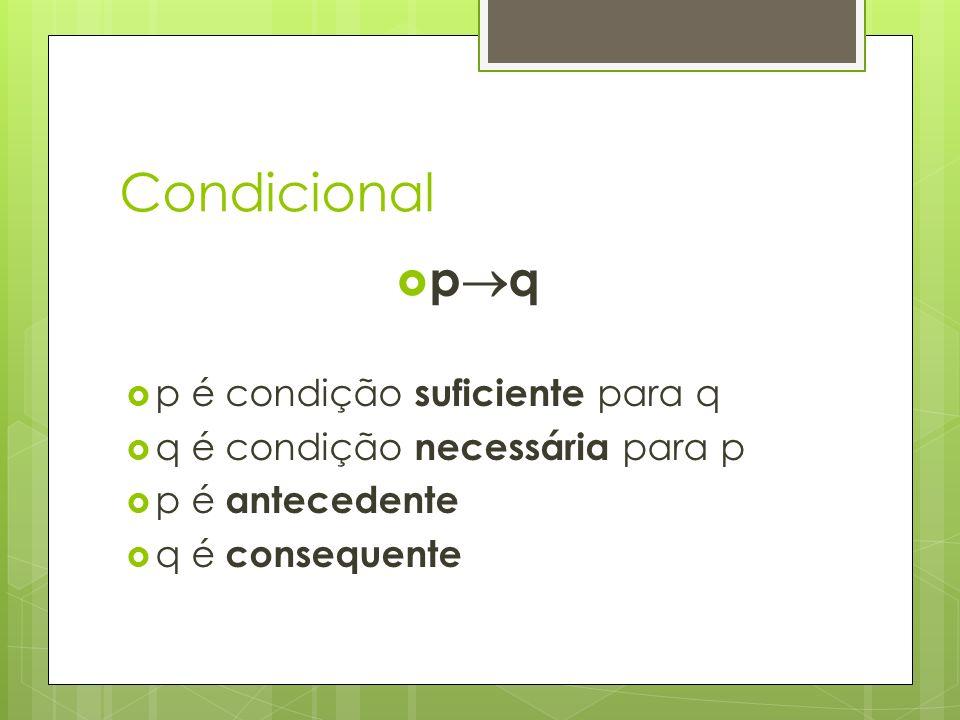 Condicional pq p é condição suficiente para q