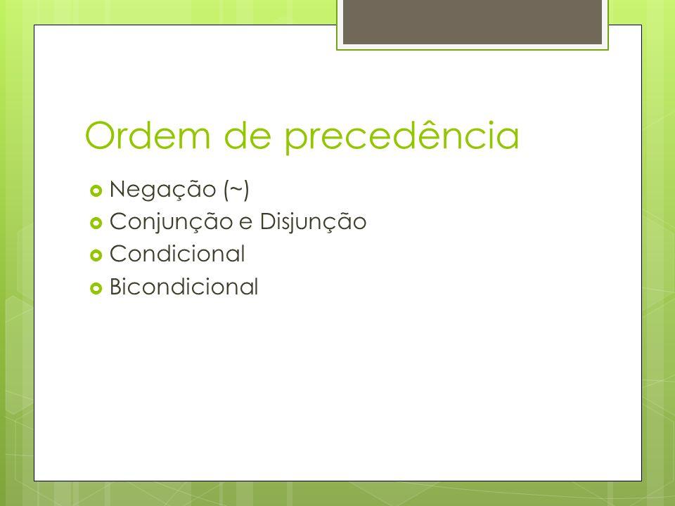 Ordem de precedência Negação (~) Conjunção e Disjunção Condicional