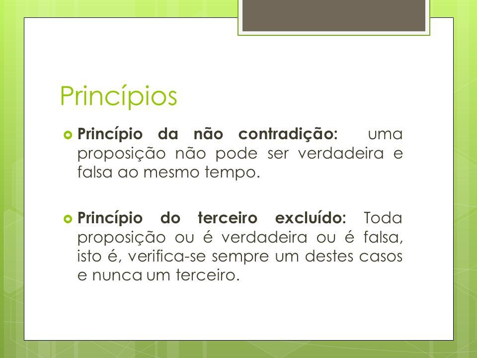 Princípios Princípio da não contradição: uma proposição não pode ser verdadeira e falsa ao mesmo tempo.