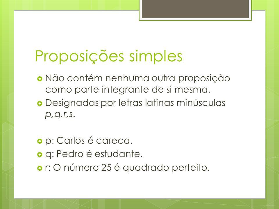 Proposições simples Não contém nenhuma outra proposição como parte integrante de si mesma. Designadas por letras latinas minúsculas p,q,r,s.