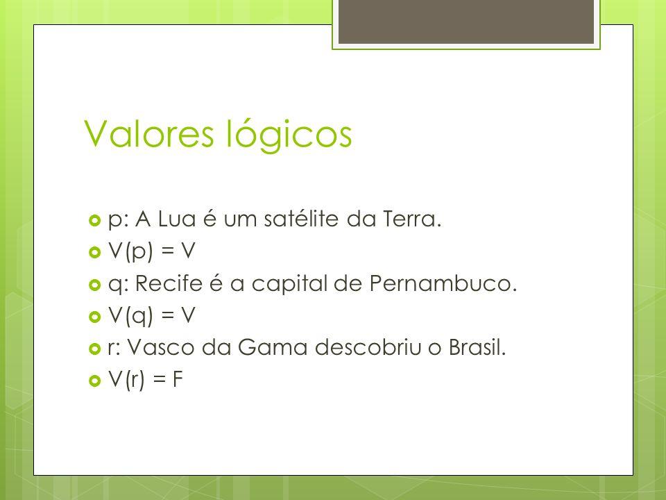 Valores lógicos p: A Lua é um satélite da Terra. V(p) = V