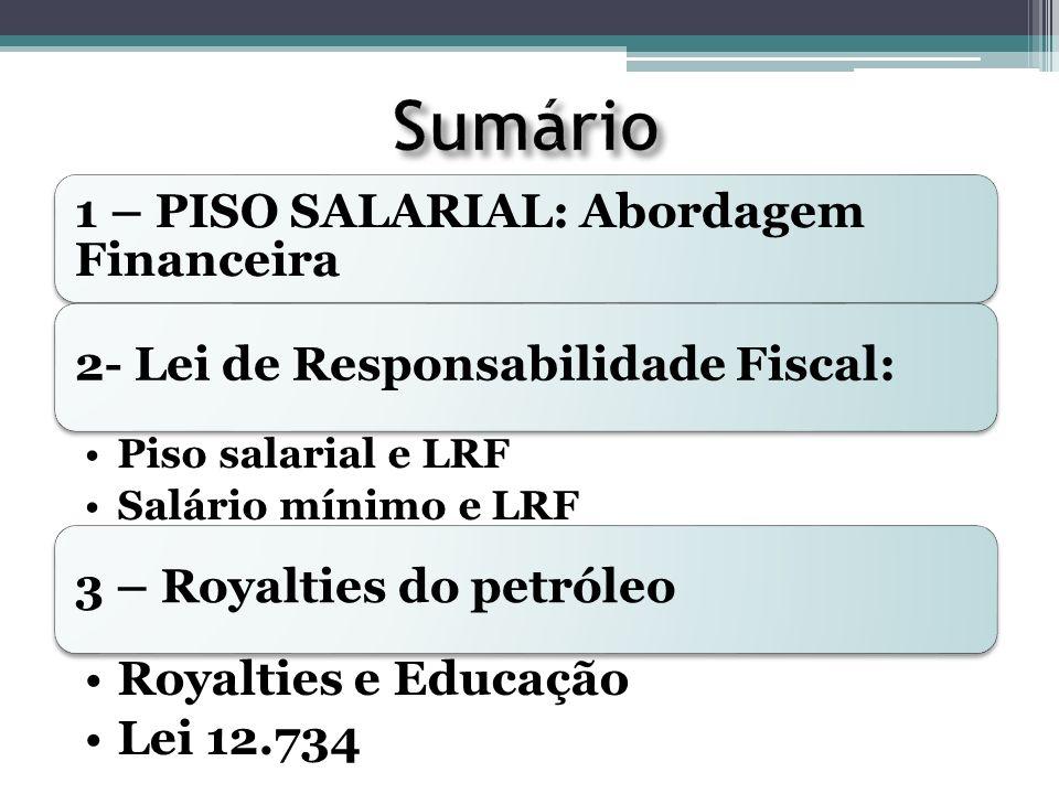 Sumário 1 – PISO SALARIAL: Abordagem Financeira