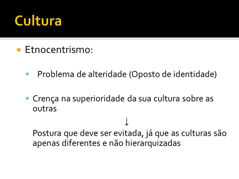 Cultura Etnocentrismo: Problema de alteridade (Oposto de identidade)