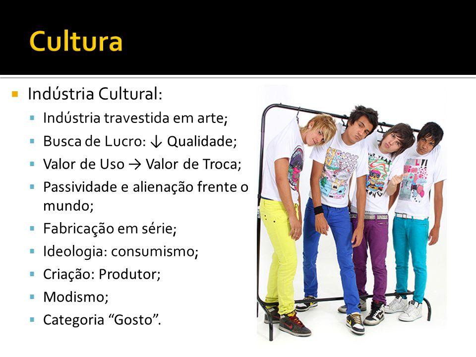 Cultura Indústria Cultural: Indústria travestida em arte;