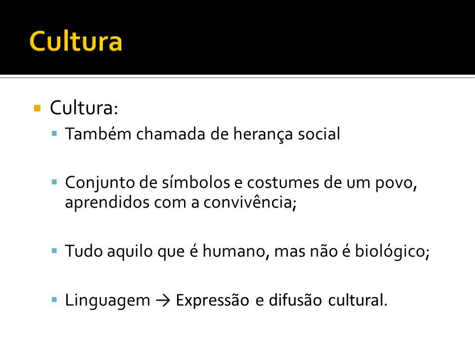 Cultura Cultura: Também chamada de herança social