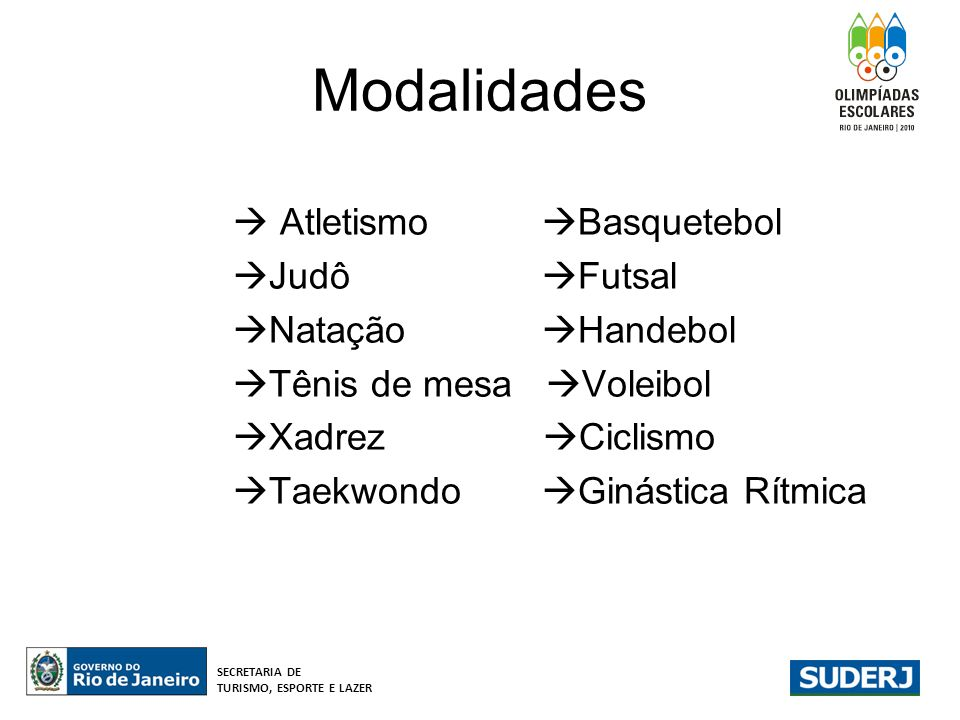 Modalidades  Atletismo Basquetebol Judô Futsal Natação Handebol
