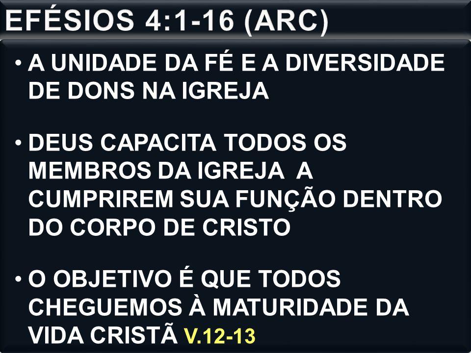 EFÉSIOS 4:1-16 (ARC) A UNIDADE DA FÉ E A DIVERSIDADE DE DONS NA IGREJA