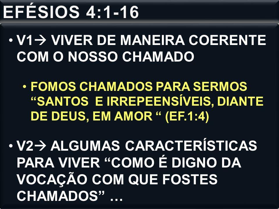 EFÉSIOS 4:1-16 V1 VIVER DE MANEIRA COERENTE COM O NOSSO CHAMADO
