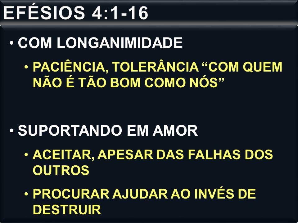EFÉSIOS 4:1-16 COM LONGANIMIDADE SUPORTANDO EM AMOR