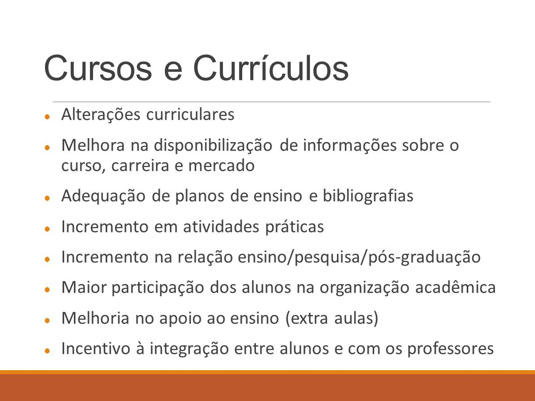 Cursos e Currículos Alterações curriculares
