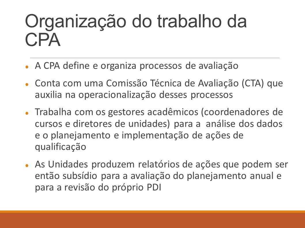 Organização do trabalho da CPA