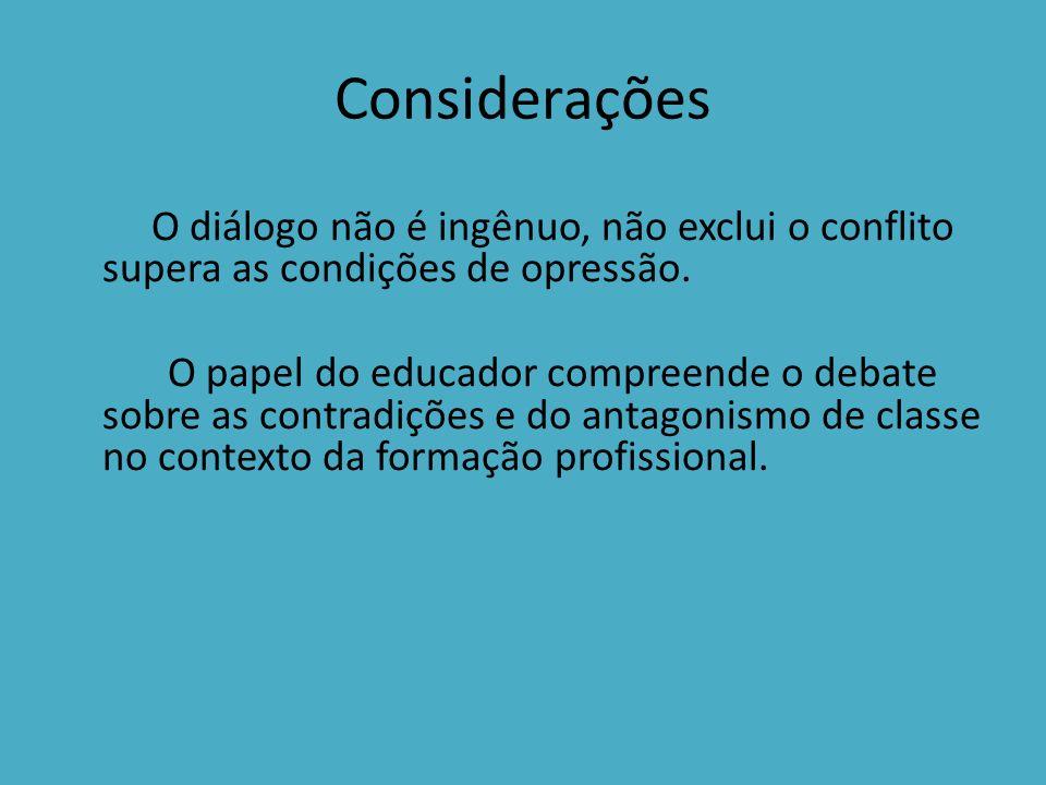 Considerações O diálogo não é ingênuo, não exclui o conflito supera as condições de opressão.