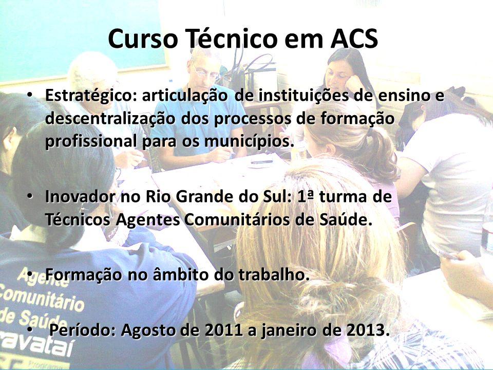 Curso Técnico em ACS Estratégico: articulação de instituições de ensino e descentralização dos processos de formação profissional para os municípios.