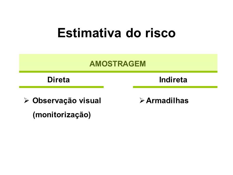 Estimativa do risco AMOSTRAGEM Direta Indireta Observação visual