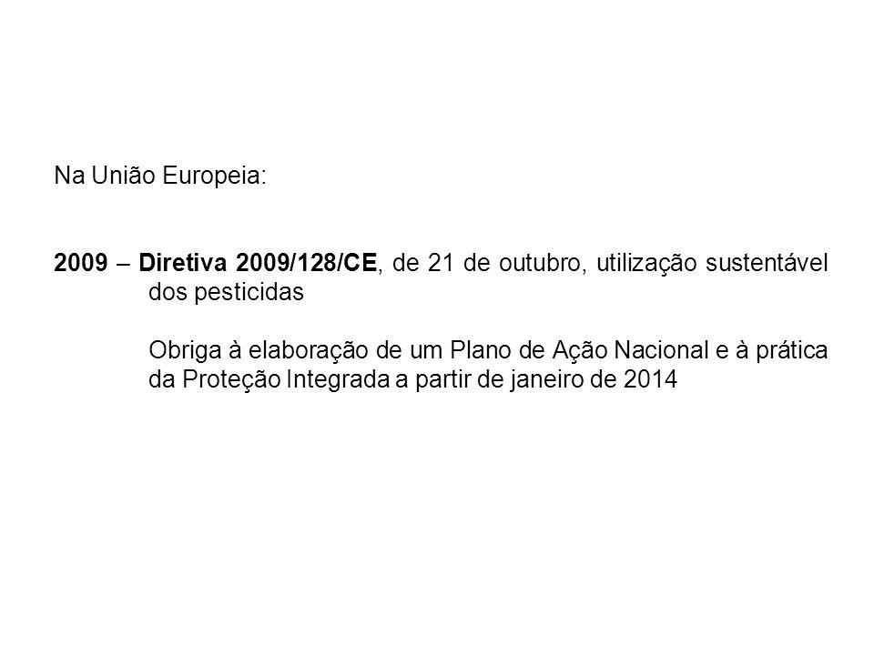 Na União Europeia: 2009 – Diretiva 2009/128/CE, de 21 de outubro, utilização sustentável dos pesticidas.