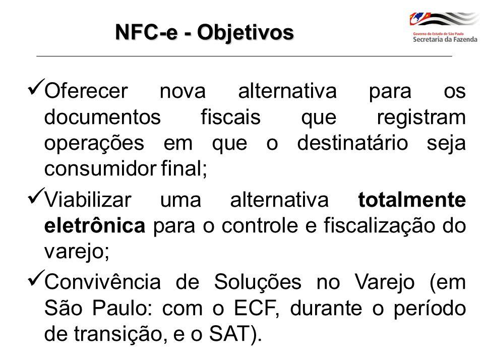 NFC-e - Objetivos Oferecer nova alternativa para os documentos fiscais que registram operações em que o destinatário seja consumidor final;