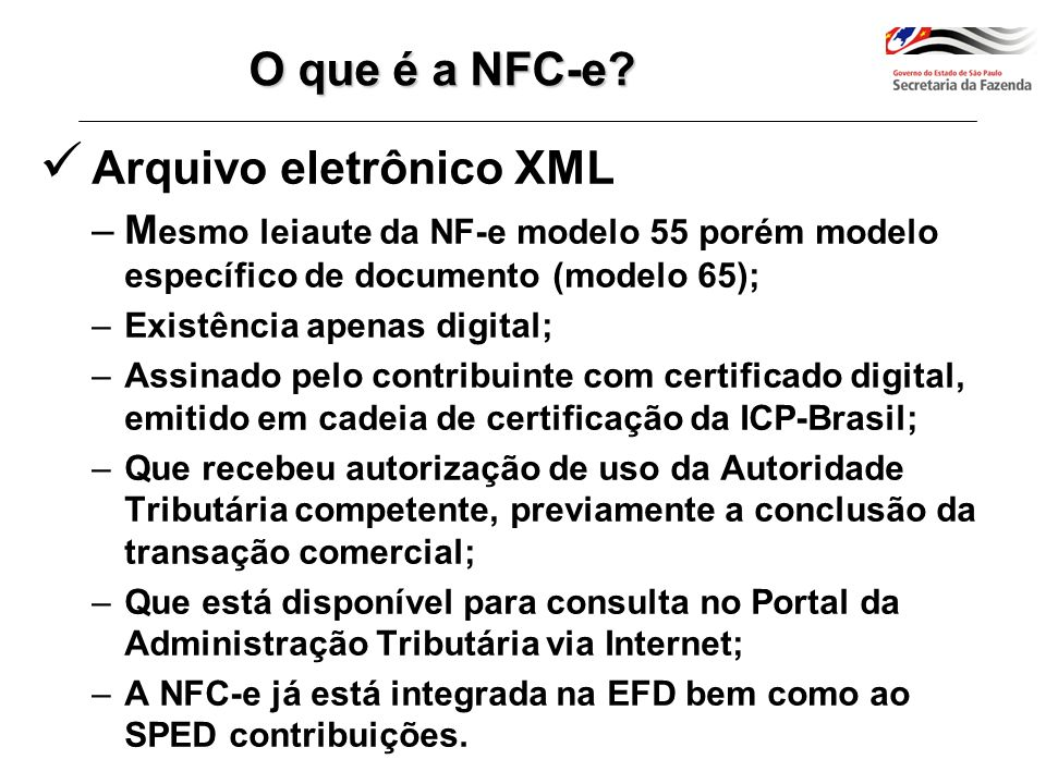 Arquivo eletrônico XML