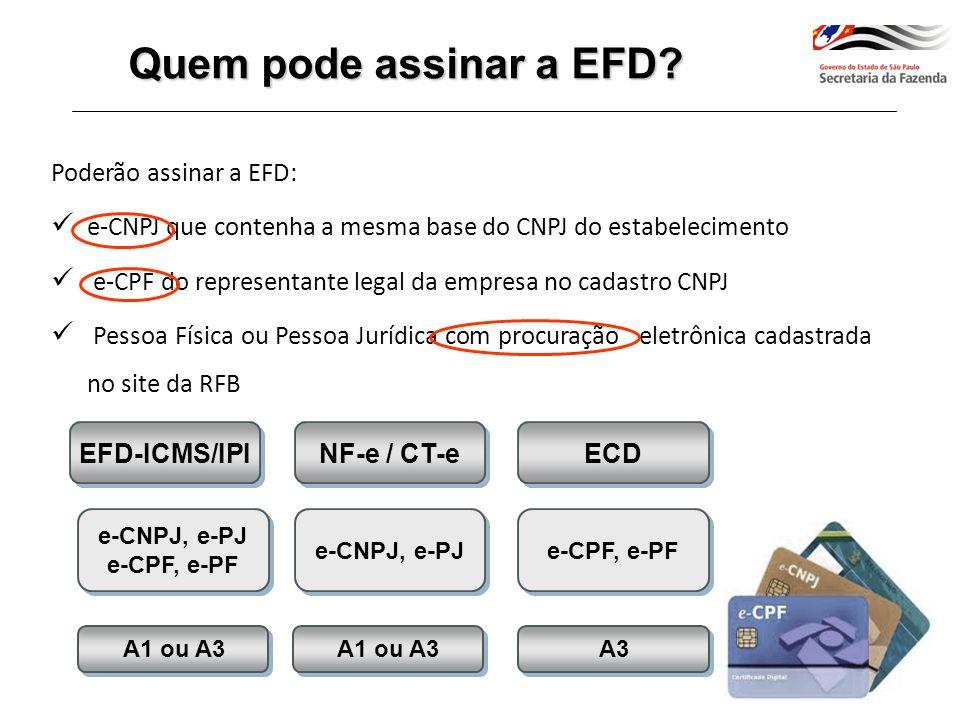 Quem pode assinar a EFD Poderão assinar a EFD: