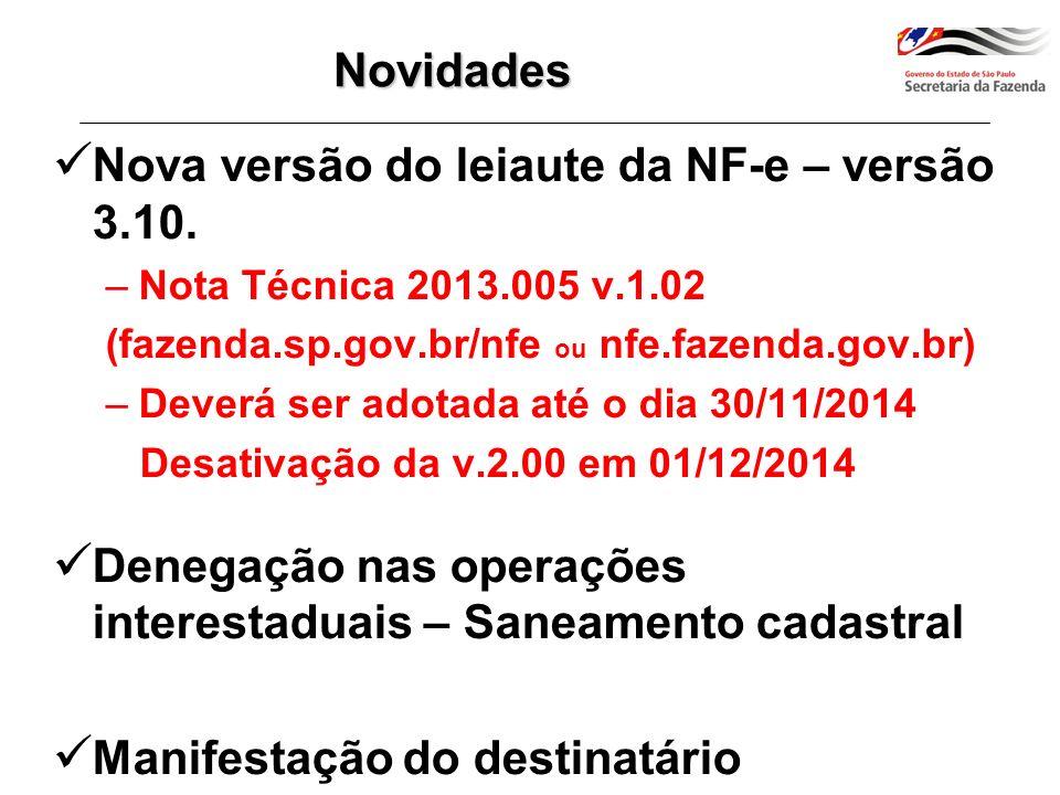 Nova versão do leiaute da NF-e – versão 3.10.