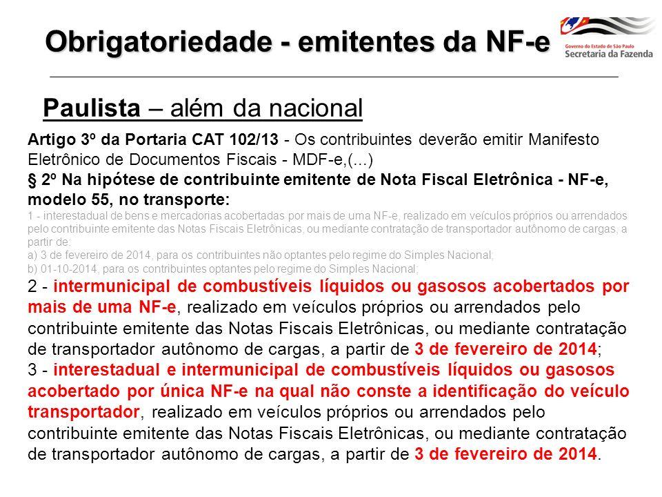 Obrigatoriedade - emitentes da NF-e