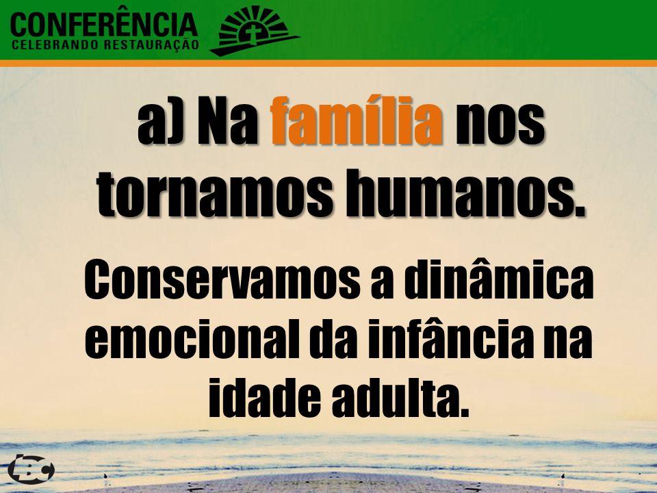 a) Na família nos tornamos humanos.