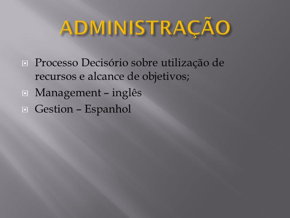 ADMINISTRAÇÃO Processo Decisório sobre utilização de recursos e alcance de objetivos; Management – inglês.