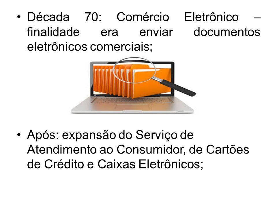 Década 70: Comércio Eletrônico – finalidade era enviar documentos eletrônicos comerciais;